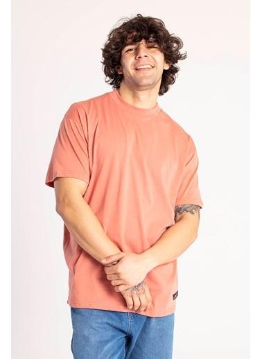 XHAN Yavruağzı Yakası Kalın Ribanalı Oversize T-Shirt 1Kxe1-44667-21 Pembe